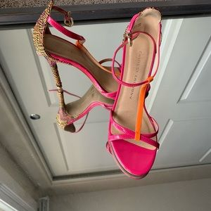 Chinese Laundry Heels - Pink Orange T strap -